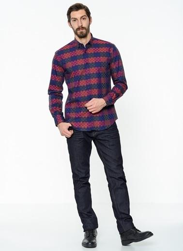 Daffari Slim Fit Ekose Gömlek Bordo